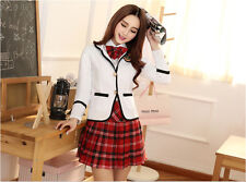 Japanese School Girl Sailor Uniform Women Cosplay Costume Halloween Set White S