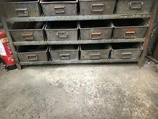 More details for vintage industrial racking multi drawers tote bins factory storage shelves