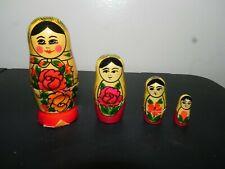 Vintage 4 Pcs Matryoshka Russian Nesting Doll Dolls Babushka Flowers Floral