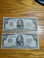 1934 $50 US FRN Cleveland (lot of 2) *Free Shipping*