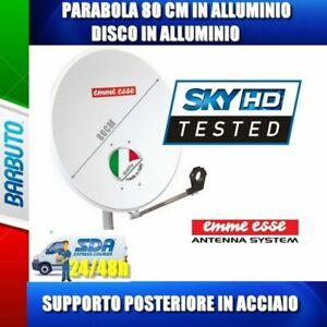 PARABOLA 80 CM ALLUMINIO EMMEESSE ANTENNA SATELLITARE CON SUPPORTO IN ACCIAIO