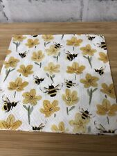 4 Shabby Chic Decoupage Napkins Gisela Graham Buttercups And Bees