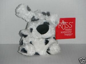 RUSS BERRIE Puppy (White Body with Black Dots on that) Soft Plush Toys 12cm Tall
