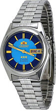 Orient BEM6Q002L Men's 3 Star Stainless Steel Blue Dial Day Date Automatic Watch