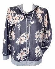 Women's Gray Floral Casual Long Sleeve Hoodie Size M Pullover Sweatshirt, NWOT