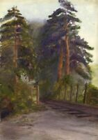Railway Track through the Trees –Original late 19th-century watercolour painting