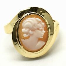 14K Solid Yellow Gold Cameo Ring