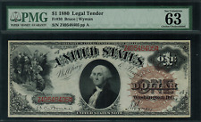 1880 $1 Legal Tender FR-30 - Large Brown Spiked Seal - Graded PMG 63 EPQ