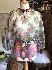 Original Vintage 70s Blouse Hippie Deco Top Floral