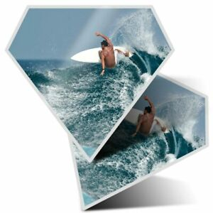 2 x Diamond Stickers 7.5 cm - Cool Surfer Guy Surfing Wave Ocean  #8134