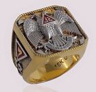 Scottish Rite 32 Degree Masonic Ring 18K Gold Pld Knights Templar by UNIQABLE
