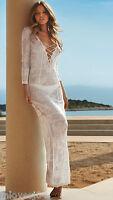 MELISSA ODABASH Silver Crochet Maxi Dress CoverUp Beach Kaftan Bikini BNWT S M L