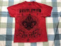 MMA REVOLUTION LIVE FREE Elite TShirt TEE Red Short Sleeve Saint Logo Cross MEN