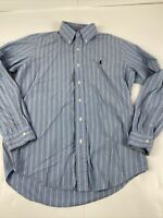 Polo RALPH LAUREN Mens Button Down Shirt medium blue Striped Dress Shirt