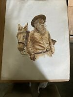 Irene Selonke Kansas Artist Signed Drawing of Old Man And Horse
