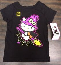 NWT Hello Kitty 2T Toddler Glow In The Dark Halloween Witch Black Tee Shirt Top