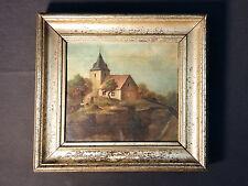 Memento Mori Gemälde 18. Jhdt. Original Antikes Ölgemälde zeigt Friedhofskapelle
