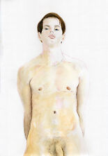 Painting NUDE male William watercolor 1/14/50 #ArtofEsteban FREE SHIP
