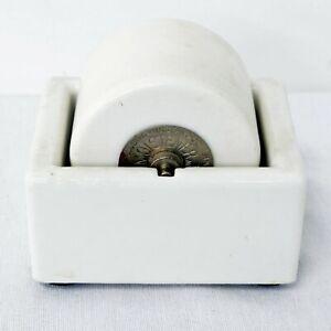 """Vintage White Porcelain Stamp Moistener Wetter Sengbusch Ideal 2"""" Wheel"""
