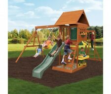 Outdoor Sturdy Wooden PlaySet Swing Slide Ladder Bars Safe Playhouse for 9 Kids