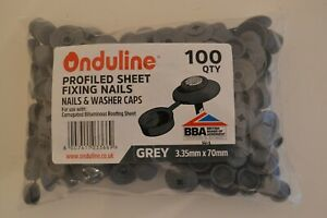 Pack of 100 Genuine ONDULINE Profiled Sheet Fixing Nails & Washer Caps Grey