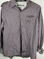 """ENGLISH LAUNDRY """"I Am The Walrus"""" Embroidered L/S purple Shirt Size L Very Rare"""