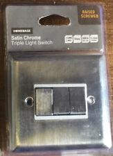 Homebase 3 Gang 2 Way Triple Light Switch - Satin Chrome