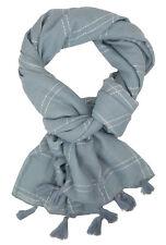 Women's Scarf Gray White by Ella Jonte Wide Scarf Tassels Cotton Viscose NEW