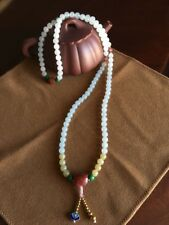 Certified Natural Grade A Jadeite Jade Necklace Bracelet 108beads Nanhong Agate