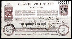 ORANGE FREE STATE POSTAL ORDER NOTE 2/6 USED 1898 BLOEMFONTEIN WINBURG