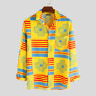 Men Long Sleeve African Printed Casual T Shirt Party Holiday Fancy Dress Top Tee