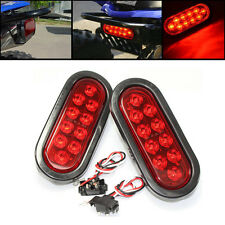 "2x 12V 6"" Oval Sealed Trailer Truck LED Side Signal Stop Turn Tail Light Red"