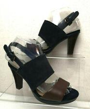FOOTGLOVE Ladies High Heel Navy Suede Brown Slingback Shoes Sandals UK 3.5- C404
