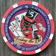 """New listing Hard Rock Las Vegas *Friday The 13th* $5 """"Uncirculated"""" Limited to 1300"""