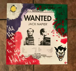 Joker Batman Jack Napier Wanted Mixed Media Art Piece Original