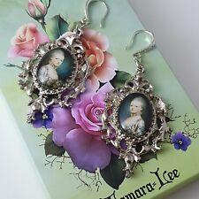 Lady Marie Antoinette inspired Edwardian Victorian glass cabochon drop  earrings