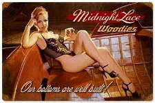 Midnight Lace Pin Up Girl Vintage Distress Metal Sign Man Cave Wall Decor HB049