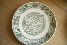 Vintage OHIO Buckeye State Map Plate by Kettlesprings Kilns Alliance 10""