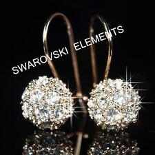Swarovski Leverback Rose Gold Plated Round Costume Earrings