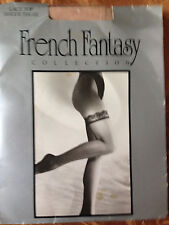 exciting! Vintage French Fantasy nude lace top stockings - size s / m