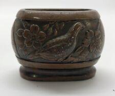 "Bronze Japanese Ornate Dollhouse Vase w/ Bird; Small 2""L x 1-5/8""H (Rf929)"