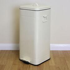 Large 30l Cream Retro Square Foot Pedal Kitchen Bin Steel Rubbish Waste Dustbin