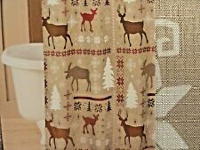 NewRED Tan Brown DEER Forest Hunting FabricSHOWER CURTAIN Msrp 30 Festive