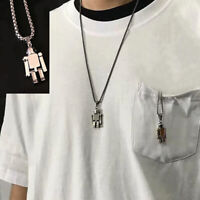 Stainless Steel Necklace Robot Pendant Choker Hiphop Chain Charm Jewelry In TP