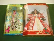 *1997 Holiday Barbie And 1995 Barbie Poodle Parade Both In Box, Nice*