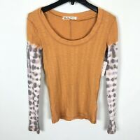 Free People Big Sur Amber Combo Long Sleeve Tie Dye T-Shirt Women's Small Medium