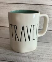 "RAE DUNN Artisan Collection LL ""TRAVEL"" Mug Farmhouse White Teal Inside Magenta"