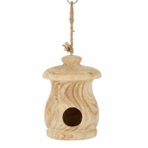 1pce 29cm Wells Birdhouse Natural Wood Handmade Hangable Outdoor/Garden Décor