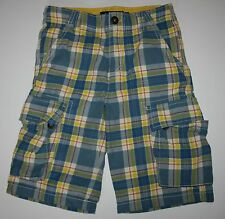 New Mini Boden Plaid Cargo Shorts Blues size 8 Year Adjustable waist