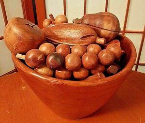 Vintage 15pc Set Mid Century Teak Wood Bowl W/ 14 Pieces Fruit Vegetables RETRO